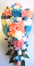 17 pc Wedding Bouquet Bridal Silk flowers Cascade CORAL PEACH TURQUOISE AQUA