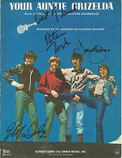 THE MONKEES Signed Autograph Sheet Music Jones, Tork, Dolenz & Nesmith JSA LOA