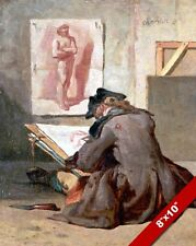 YOUNG & POOR STARVING ARTIST FRENCH DRAWING PAINTING ART REAL CANVAS PRINT