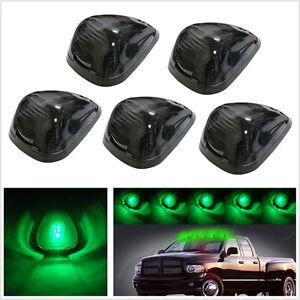 5 Pcs Black Smoke Lens Car 4X4 Truck Green LED Top Roof Marker Light T10 Lamp