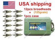 12pcs Archery 125Grain Hypodermic Broadheads +1Pcs Box Case US