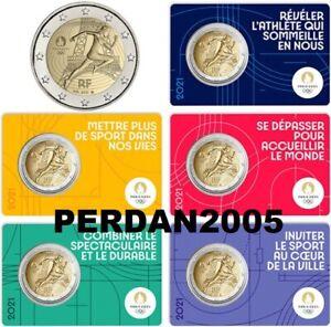 FRANCIA 2021 2 EURO FDC UNC OLIMPIADI 2024  FRANKREICH FRANCE SET DI 5 COINCARD