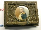 Antique+Brass+Hinged+Hand+Painted+Portrait+Jewelry+Box++1800s-1900s