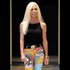 2013 VERSACE cotton women's pants Floral print Style worn by Donatella Versace