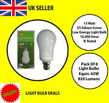 PACK OF 8 X 15 WATT BC LOW ENERGY LIGHT BULB A RATED 10000 HOUR A RATED NEW