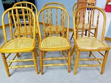 Antique Caned-Seat Kitchen Chairs - set of six - solid ash, Euc circa 1920s