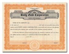 Unity Gold Corporation Stock Certificate (Colorado)