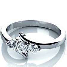 0.25 Carat Round Diamond Trilogy Engagement Ring Crafted in Hallmark White Gold