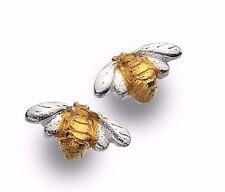 Plata esterlina 925 Oro Plateado Abeja Aretes Regalo Amantes de los animales Gemas de Mar