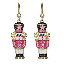 Kirks Folly Pretty In Pink Nutcracker Leverback Earrings (Goldtone)