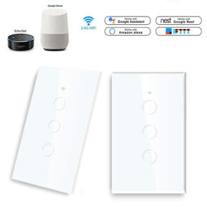 1/2/3 Gang Smart Home WiFi Touch Light Wall Switch Panel For Alexa / Google Home