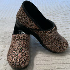 SANITA CLOGS SIZE 40 PERENNIAL PRINT LEATHER BLK TAN SMART STEP PROFESSIONAL NEW