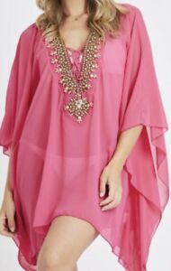 Stunning Kaftan Top Embellished Gold Beading Fuchsia Beach Lunch Evenings Out