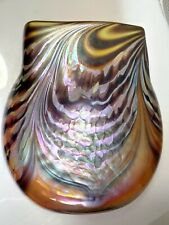 Unique Signed Jon Bush Art Glass Amber Iridescent Tiffany Style Vase