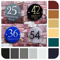 Personalised House Sign Door Number Street Address Name Plaque Modern Round