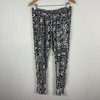 Tigerlily Womens Pants 10 Multicoloured Damask Elastic Waist Tie Closure Capri