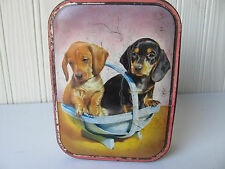 Vintage Cute Dogs Puppies Candy Box Toffee Tin Litho Edward Sharp & Sons Puppy