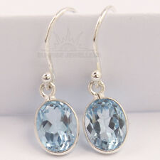 Fabulous Earrings 925 Sterling Silver Jewelry Natural BLUE TOPAZ Oval Gemstones