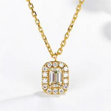 "0.70CT Emerald Cut Diamond Halo Style Pendant 18"" Chain 14K Yellow Gold Over"