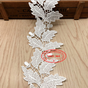 H240 Crochet leaf Lace Trim Embroidery Wedding Bridal Ribbon Sewing Craft