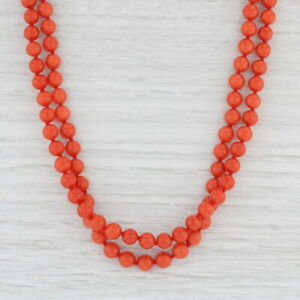 """Linda Lee Johnson Precious Red Coral Bead Necklace 22k Gold 17"""" Double Strand"""