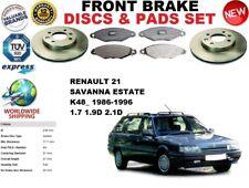 FOR RENAULT 21 ESTATE SAVANNA K48_ 86-95 FRONT BRAKE DISCS SET + BRAKE PADS KIT
