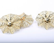 Emmons Gold Tone Vintage 1960s/1970s Brooch and Earring Set, Designer