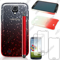 Housse Etui Coque Gouttelettes Rouge Samsung Galaxy S4 i9500 + Stylet + 3 Films