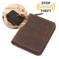 RFID Men's Real Leather Credit Card Holder Zip Coin Pocket ID Wallet Money Purse