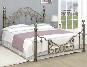 Florence Antique Brass Metal Double Bed Frame