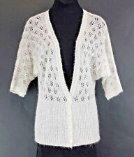 LOFT Sz S Cream Silver Bead Sequin Nylon Mohair Wool Knit Cardigan *210