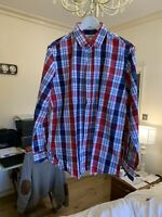GIANNI FERAUD Men's Shirt Size: 42 And 16.5 COLLAR Checked Red WHITE Blue
