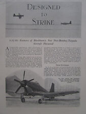 5/1947 ARTICLE 6 PAGES BLACKBURN S.28/43 DIVE BOMBER TORPEDO NAVAL AIRCRAFT