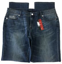 Bisou Bisou Straight Leg Jean Med Wash Mid Rise Bling Embellished Women's 12 NEW