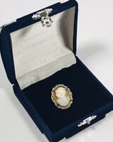 Antique Vintage Cameo Pendant Brooch Left Facing 800 Silver Case Elegant Dainty