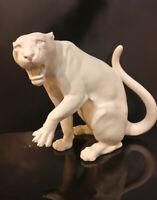 9942914-ds Porzellan Figur Tiger Panther weiß bisquit Wagner&Apel 25x15x22cm