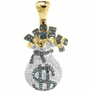 Blue Diamond Money Bag Pendant Mens 10K Yellow Gold Round Dollar Sign Charm 1 Ct