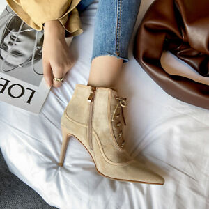 Fashion Pointed Stiletto Bootie Casual Suede Solid Color Lace-Up Side Zip Boots