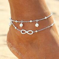 Fußkette Infinity Unendlichkeit Perle Fußschmuck Fußkette Kette Silber Gold F1
