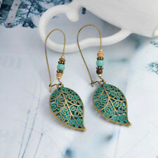 Fashion Women Vintage Hollow Leaf Bead Earrings Long Dangle Drop Costume Jewelry