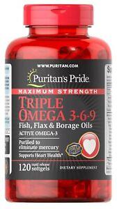 Puritan's Pride Maximum Strength Triple Omega 3-6-9 Fish, Flax & Borage 120 Gels
