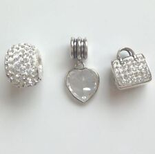 Set of 3 Sterling Silver Rhona Sutton Handbag Dangling Heart Charm Beads