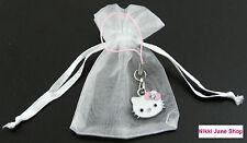 Hello Kitty rose émail strass charme de téléphone / crayon cas en organza sac-NEUF