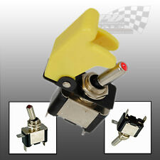 AIRCRAFT STYLE YELLOW FLIP COVER TOGGLE SWITCH 12v RACING SWITCH