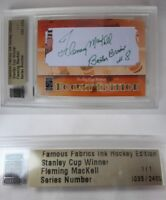 2010 Famous Fabrics Fleming Mackell 1/1 auto 1 of 1 autograph Leafs Bruins