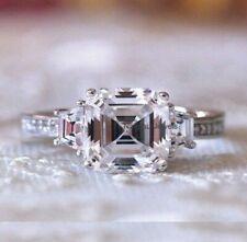 Engagement Ring 14K White Gold 3Ct Asscher White Forever Moissanite Antique