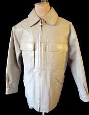 Ivory off white LEATHER jacket coat loose mod baggy 1990s vtg hip hop m medium