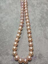 """11-12MM Pink South Sea Pearl Gemstones Round Bead 14k Clasp Necklace 18"""""""