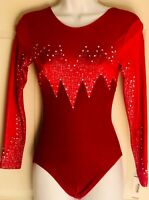 GK ELITE RED VELVET JA HOLOGRAM LgS GYMNASTICS DANCE Leotard ADULT SM