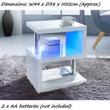 New Design Stainless steel tubes High Gloss Side Table LED lighting - White